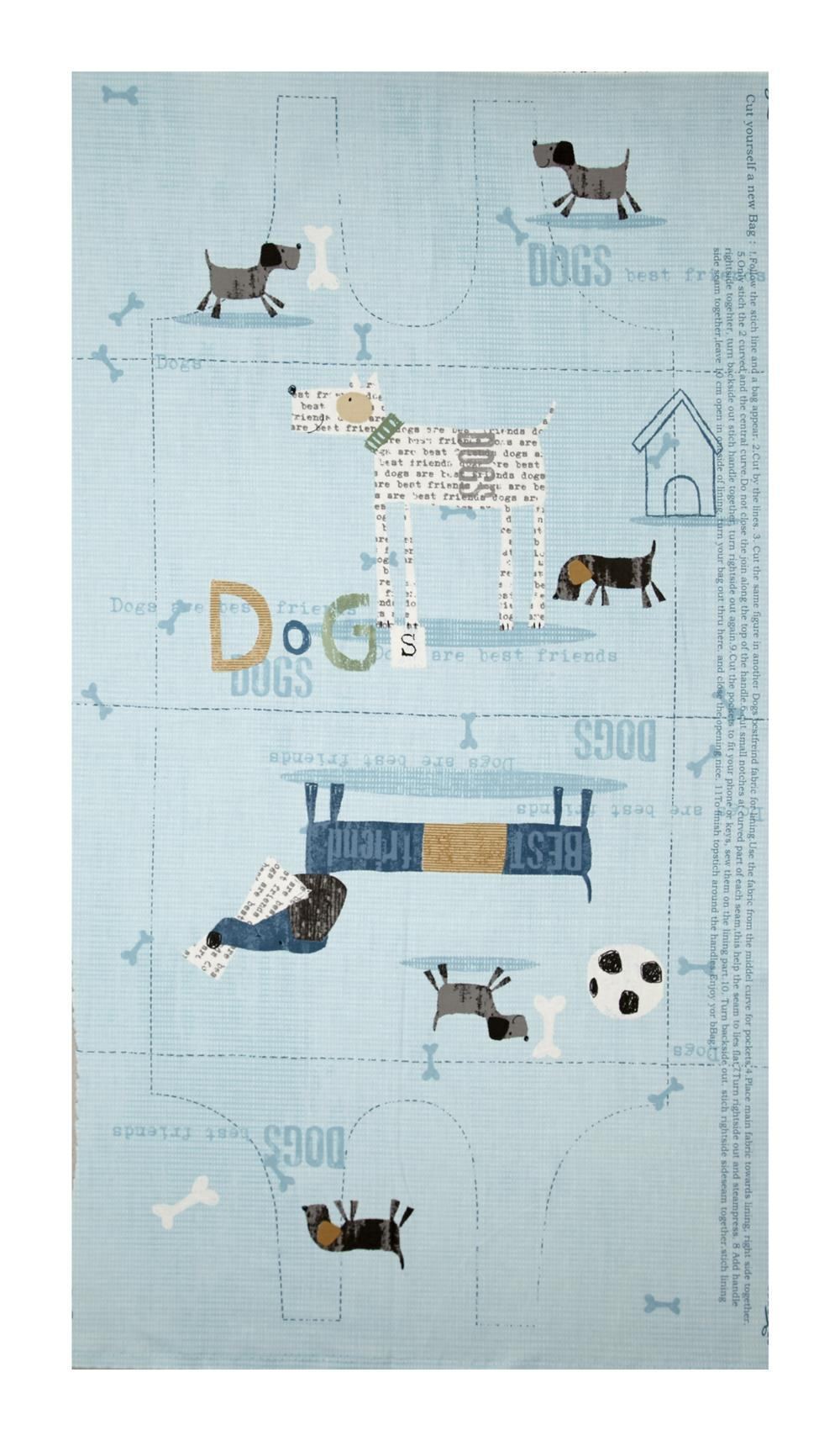 My Best Friend Dog Bag Pattern 24'' Pannel Blue Fabric