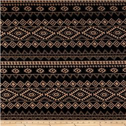Poly Crepe Aztec Triangle/Diamond Print Black/Tan