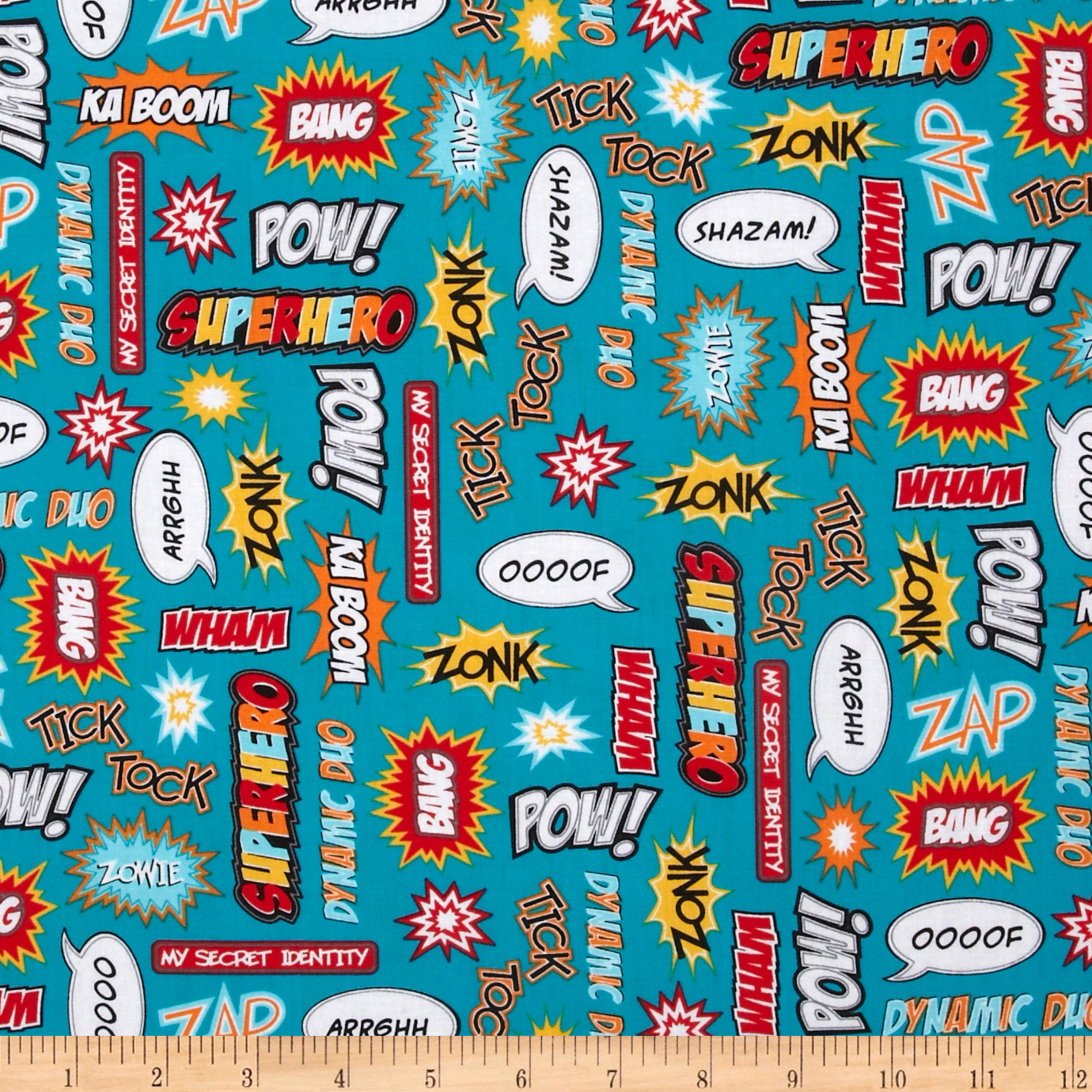 Superhero Action Words Bright Fabric
