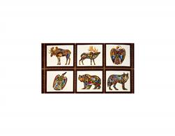 Kaufman Animal Spirits 2 Metalllics Wildlife Panel Blocks Earth