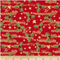 Holiday Magic Metallic Holly and Music Red