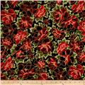 Kaufman Imperial Collection Metallic Flower Crimson