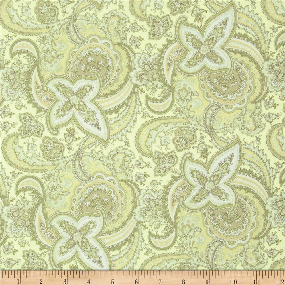 American Bouquet Flannel Large Paisley Green
