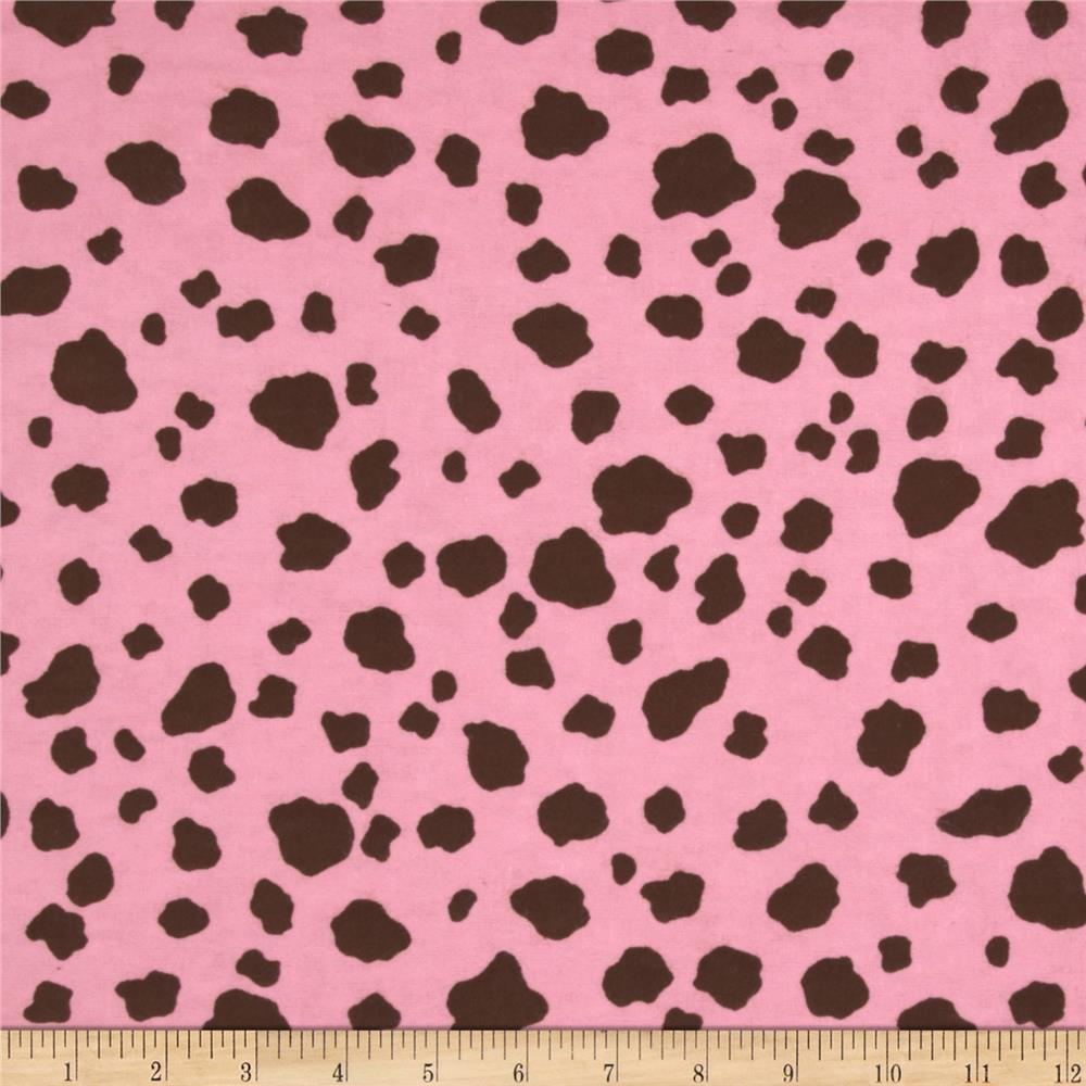 Aunt Polly's Flannel Cow Print Pink/Brown