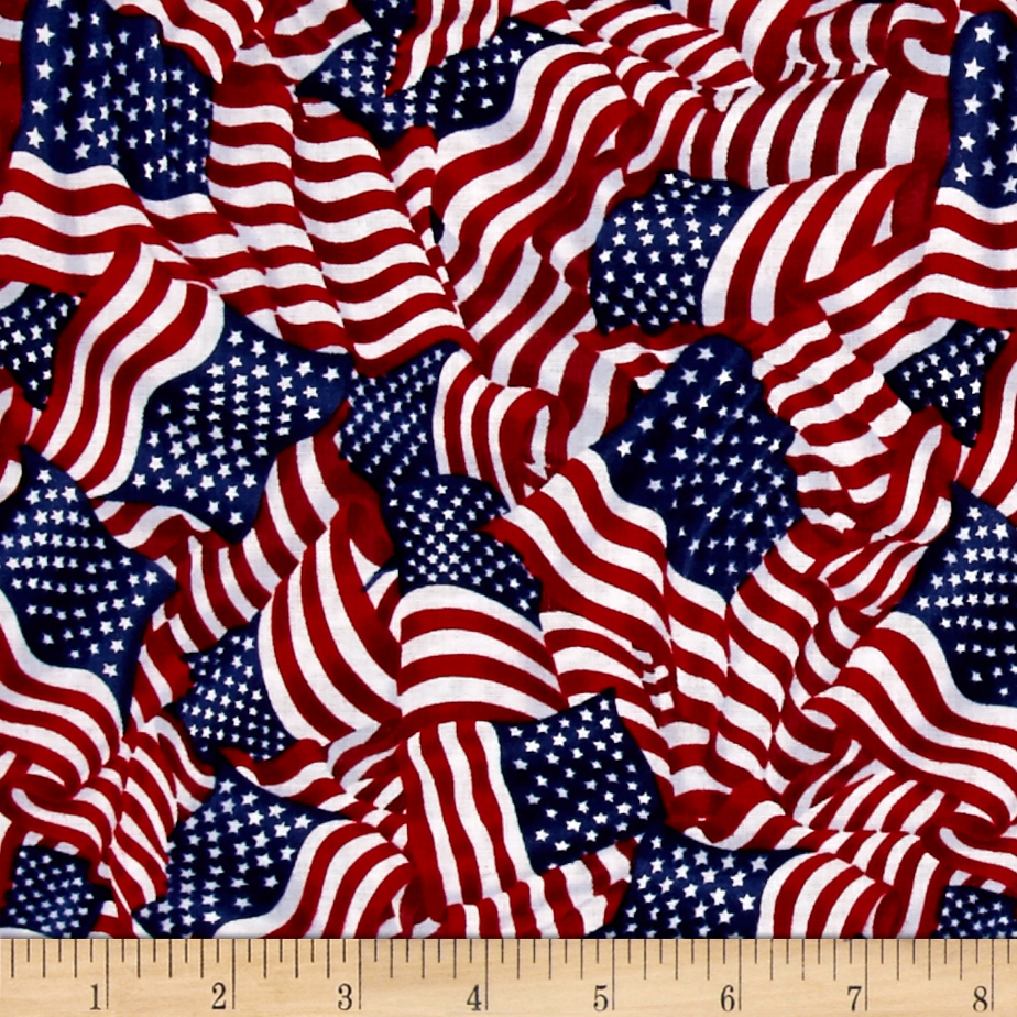 Image of American Pride Wavy Flag Bright Fabric