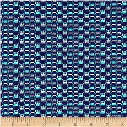 French Metallic Geometric Jacquard Turquoise/Navy/Teal/Cr?me
