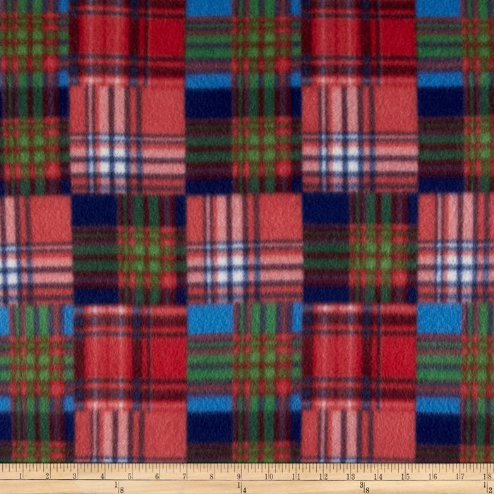 Fleece Patchwork Plaid Red/Blue