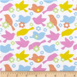 Flannel Birds Dream Multi/Light Pink