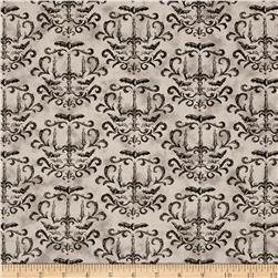 Moda Eerily Elegant Halloween Damask Wicked Grey