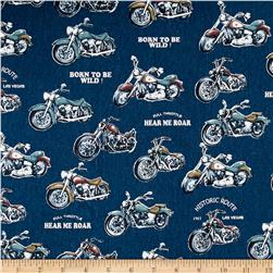 Cosmo Motorcycles Cotton Linen Blend Blue