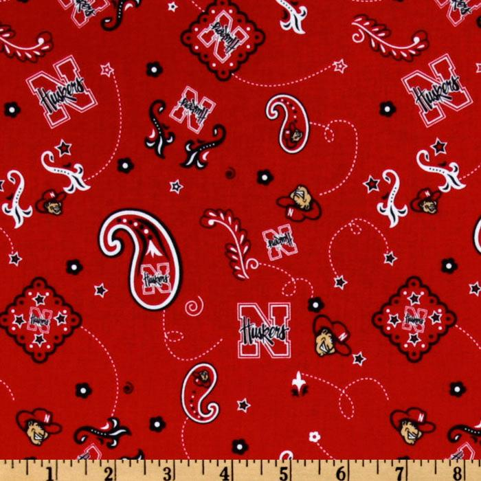 Collegiate Cotton Broadcloth University of Nebraska Bandana Red Fabric By The Yard