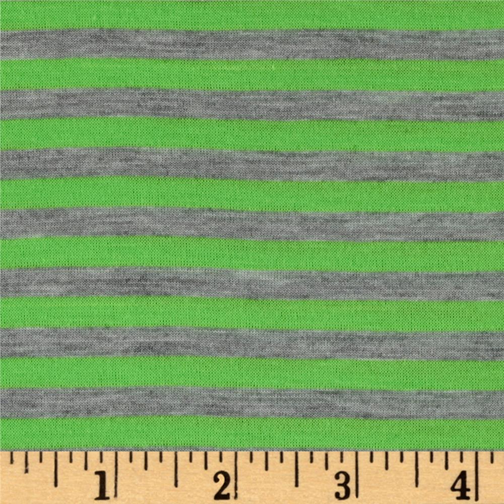 Polyester Spandex Jersey Knit 1/4'' Stripe Heather Gray/Green Fabric By The Yard