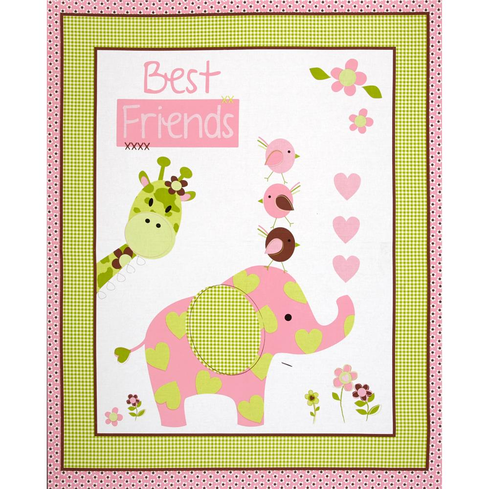 Nursery best friends panel 36 green discount designer for Nursery fabric