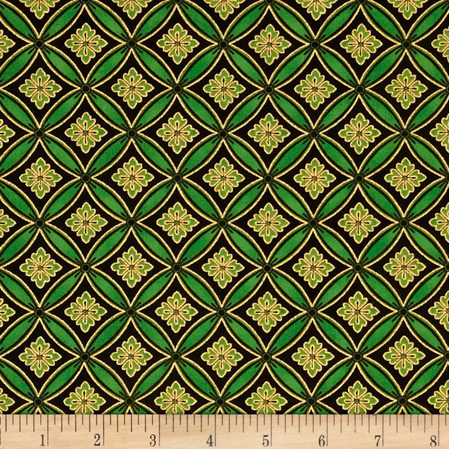 Christmas Carols Metallics Floral Grid Green