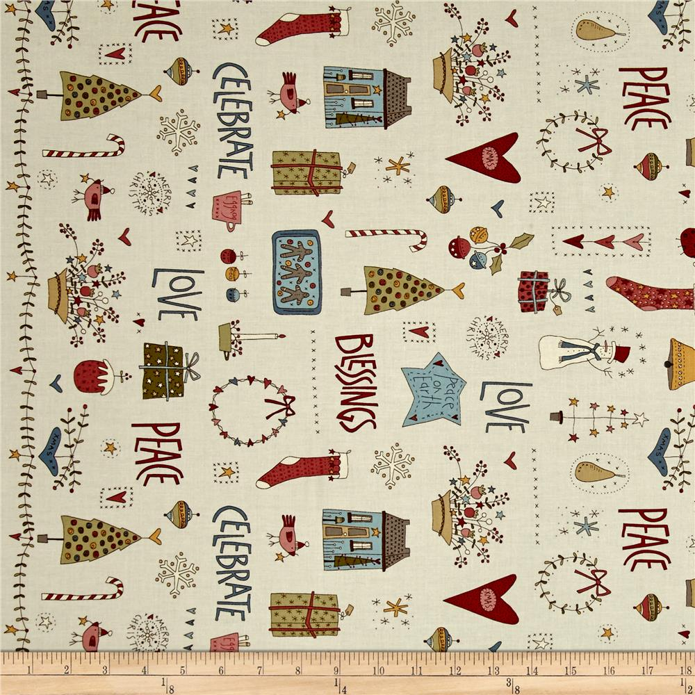 Celebrating Christmas Large Characters And Christmas Motifs Cream