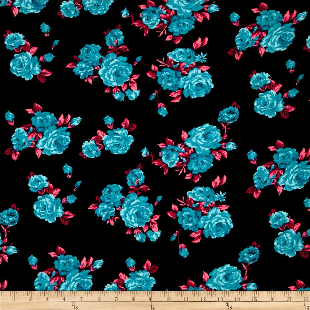 Liverpool Double Knit Print Floral Black Ground/Blue/Pink