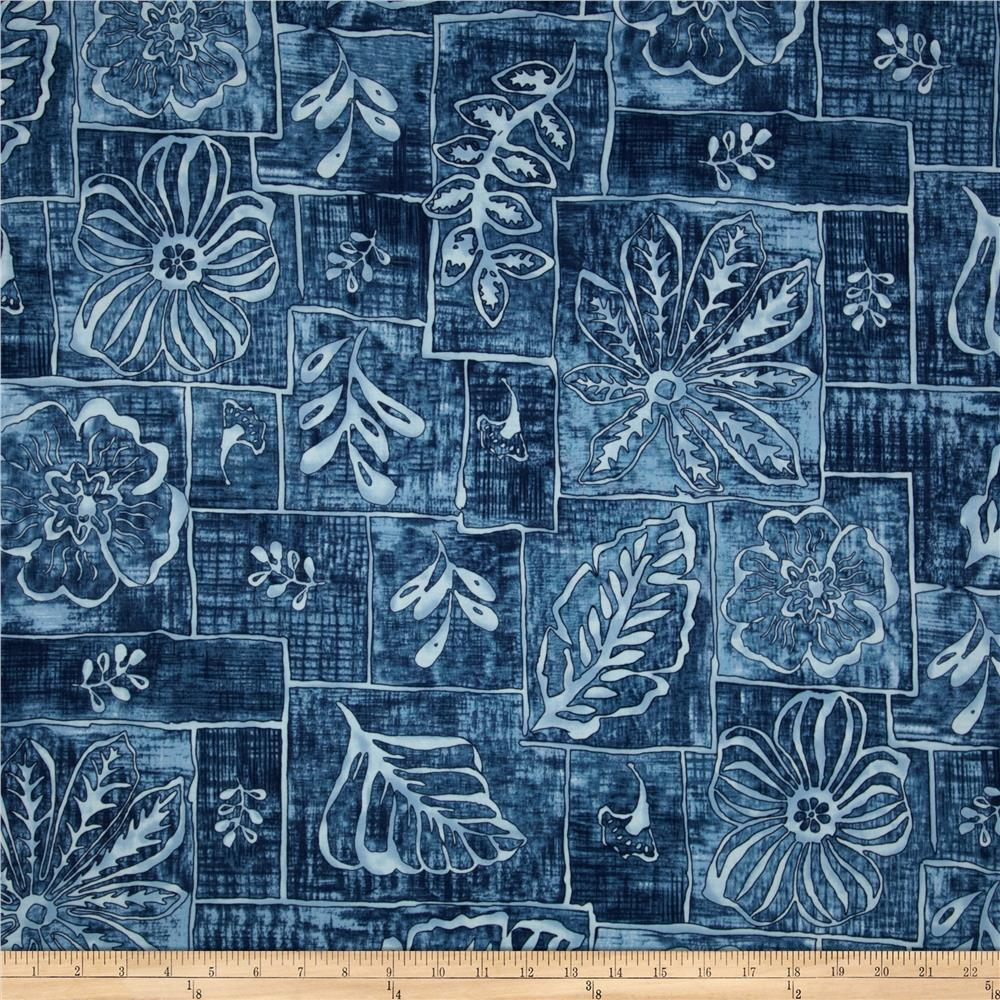 Road To Haleiwa Abstract Tropical Florals Blue