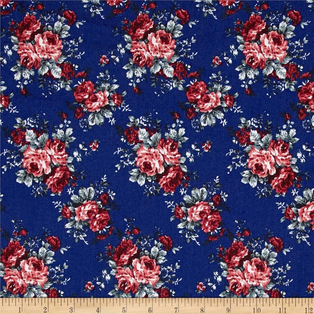 Fashion Printed Denim Rose Garden