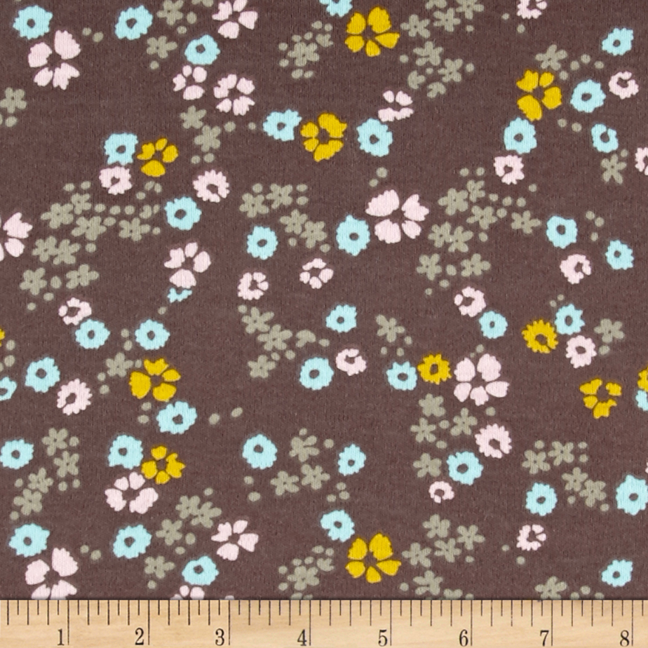 Cloud 9 Organics Scattered Floral Interlock Knit Brown Fabric by Cloud 9 in USA