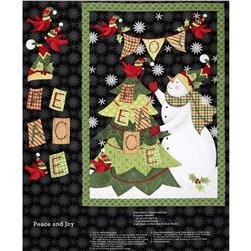 Peace and Joy Snowman Wallhanging Panel Black Fabric