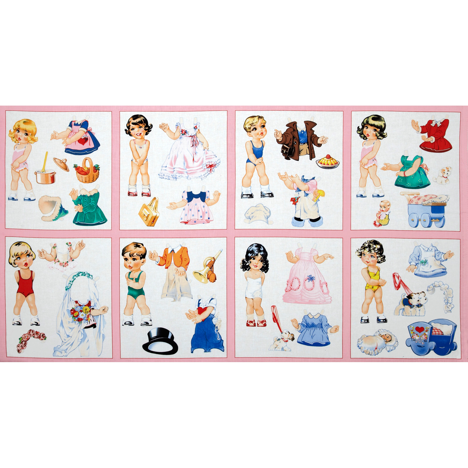 Paper Doll Cuties Patchwork Panel Pink Fabric