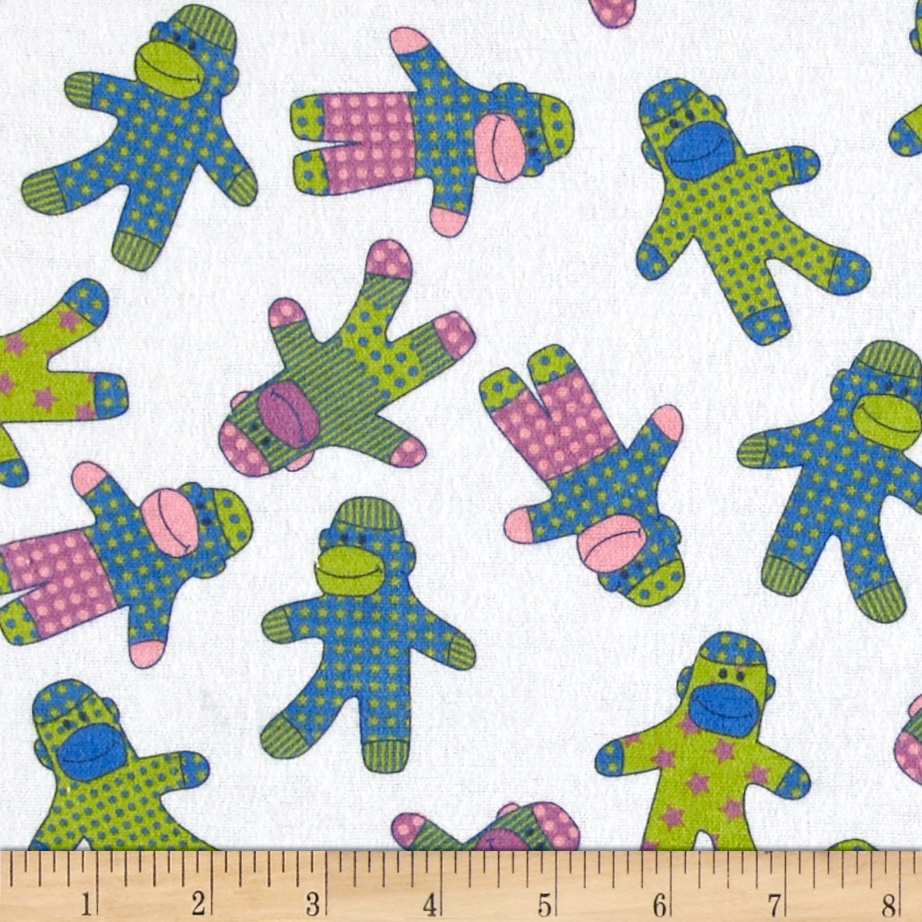 Flannel Sock Monkeys White Fabric