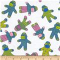 Flannel Sock Monkeys White