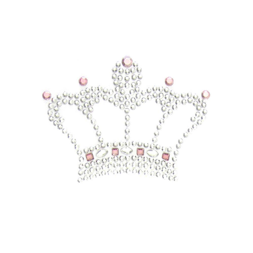 Crown Rhinestud Applique Silver