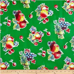 Oil Cloth Pears & Apples Green Fabric
