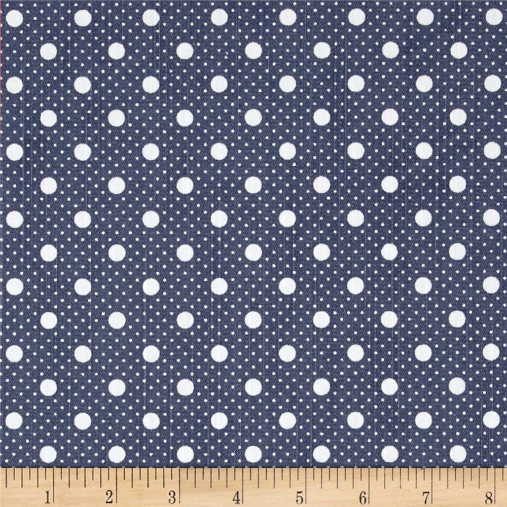Fashion Printed Denim Blue and White Dots Fabric By The Yard