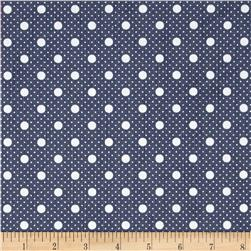 Fashion Printed Denim Blue and White Dots