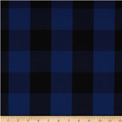 Stretch Yarn Dyed Shirting Large Check Royal/Black