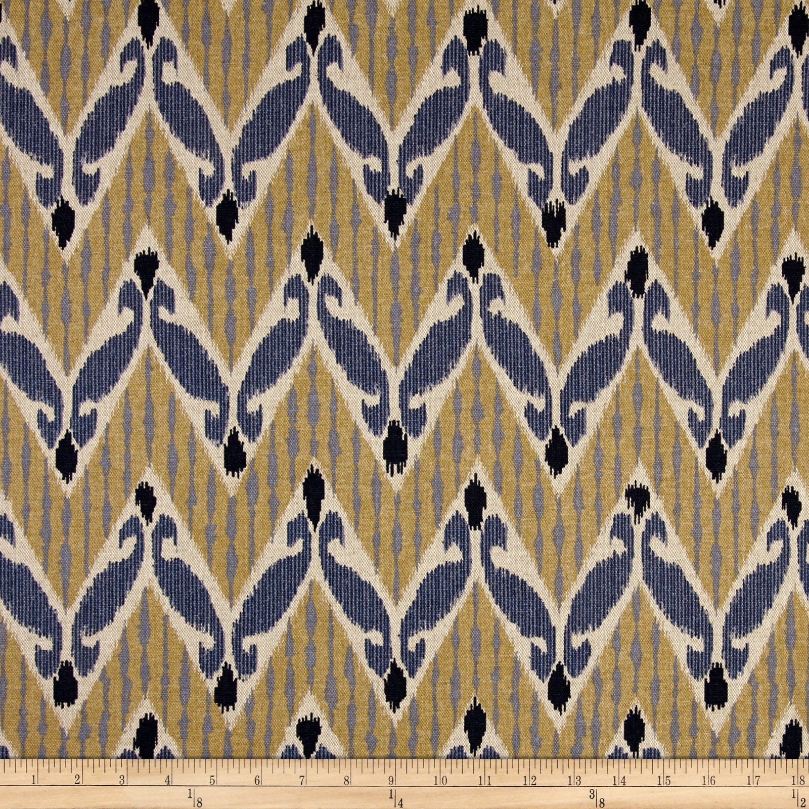 Lacefield Zig Zag Indian Blue Fabric by Lacefield in USA
