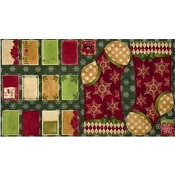 Christmas At Home Stocking and Label Panel Multi