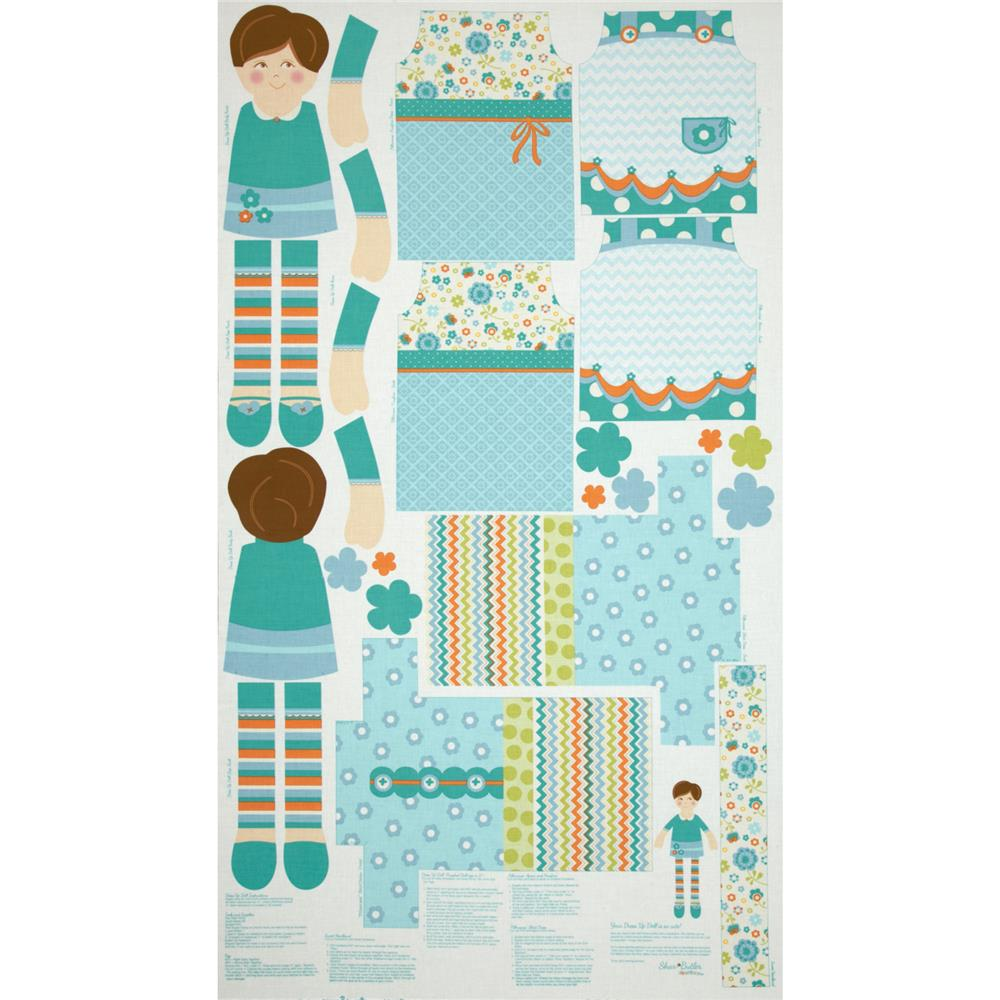 Dress Up Days Doll & Clothes Panel Aqua