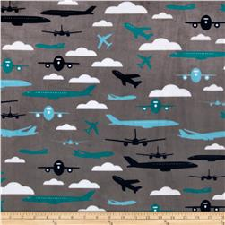Kaufman Minky Cuddle Boys Toys Aviator Teal Fabric