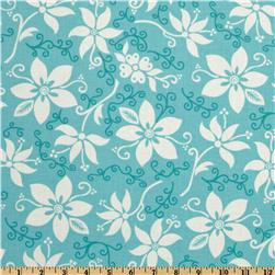 Seaside Cottage Blooming Flowers Teal