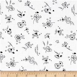 Timeless Treasures Doodle Mini Floral Toss White