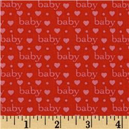 Bundle of Joy Baby Love Red Fabric
