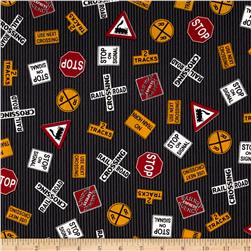 All aboard discount designer fabric for Train print fabric