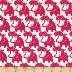 Seven Islands Double Cotton Gauze Hippos Pink