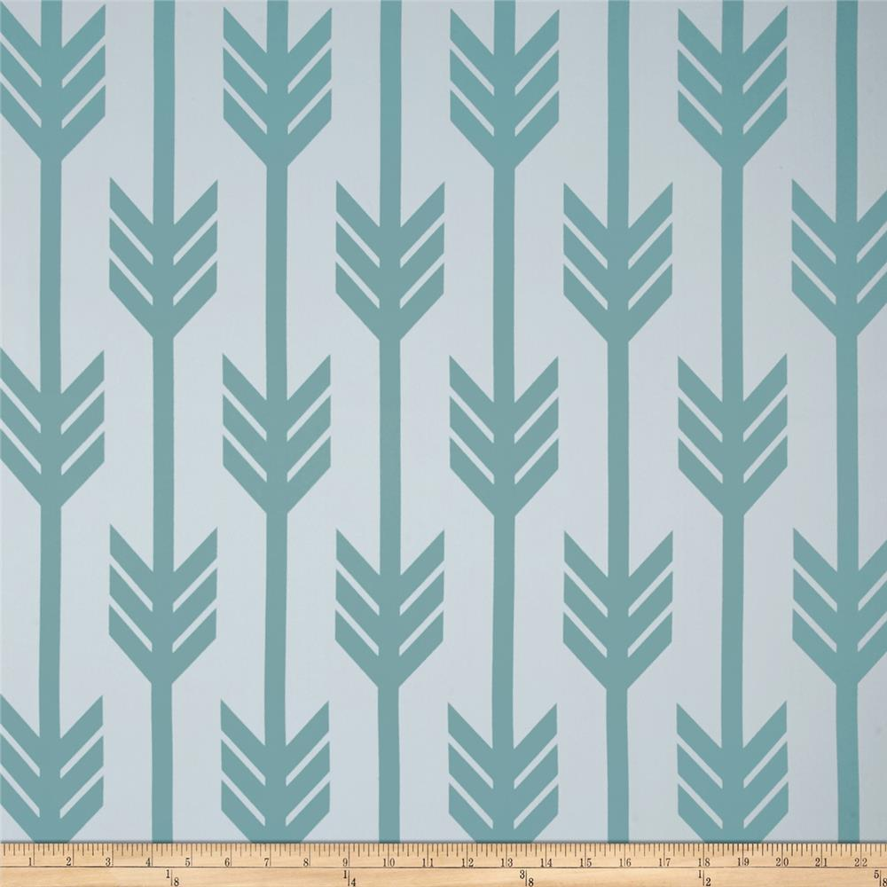 RCA Arrows Blackout Drapery Fabric Aqua Mist
