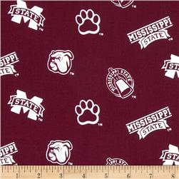 Collegiate Cotton Broadcloth Mississippi State Red