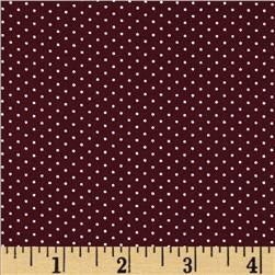 Morocco Blues Stretch Poplin Pindot Maroon/White