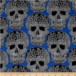 Michael Miller Skulls Out Art Skull Royal