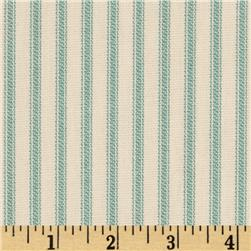 Vertical Ticking Stripe Ivory/Aqua Fabric