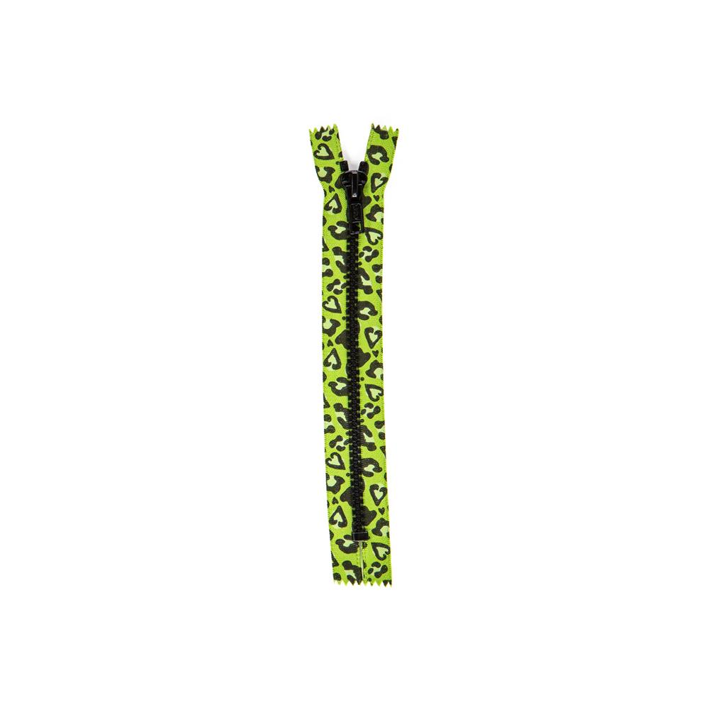 "Printed Fashion Closed End Zipper 7"" Leopard Lime"