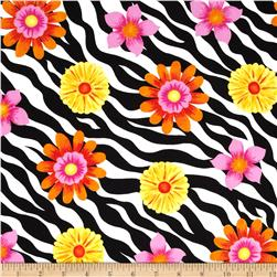 Wild Flower Flowers on Zebra Skin Black