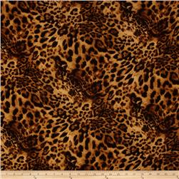 Rayon Jersey Knit Jaguar Print Brown/Gold