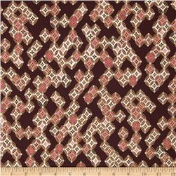 Kanvas Sakura Metallic Sakura Diamonds Brown Fabric